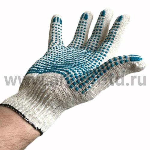 Перчатки хб с ПВХ 3 нити 10 класс БЕЛЫЙ