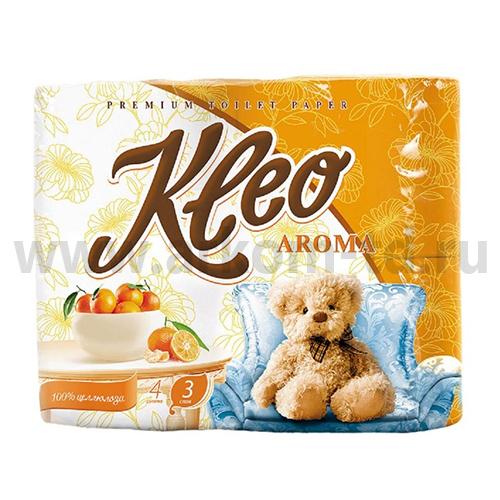 Бумага туалетная Клео Арома (Kleo Aroma) 3сл. Мандарин